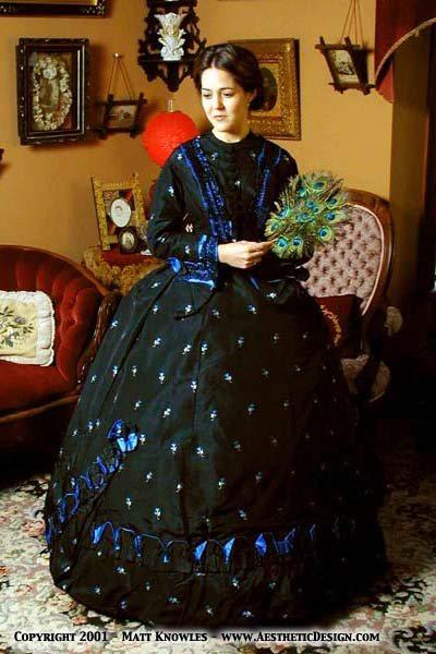 1860s Blue & Black Silk Ensemble