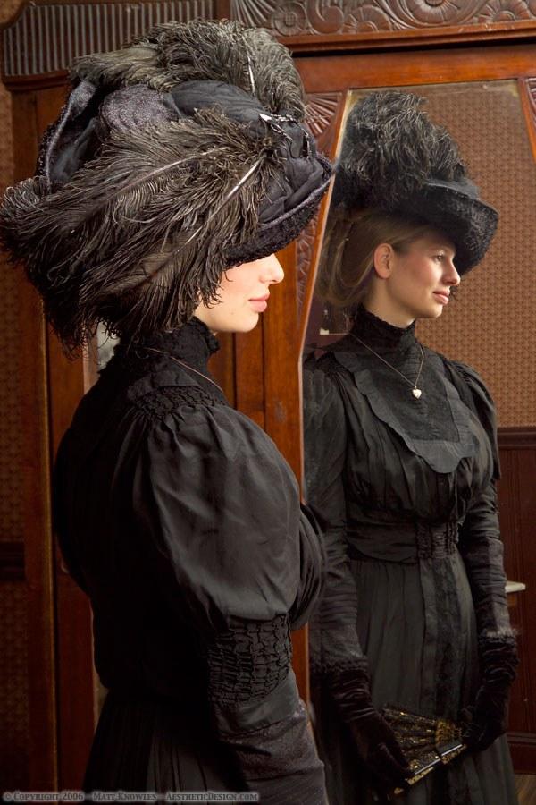 1910 Black Ostrich Feather Hat