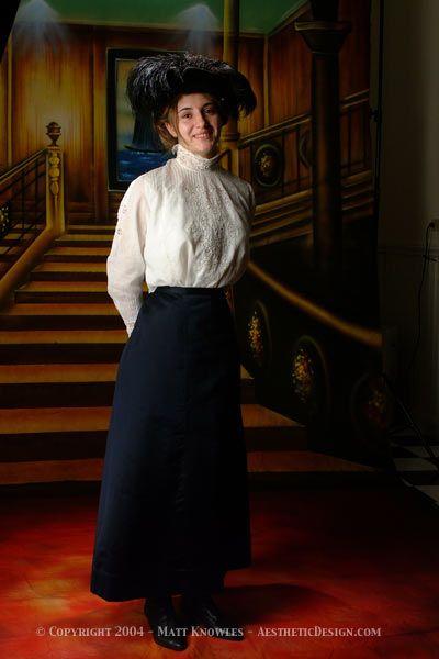 1910 Navy Silk Skirt