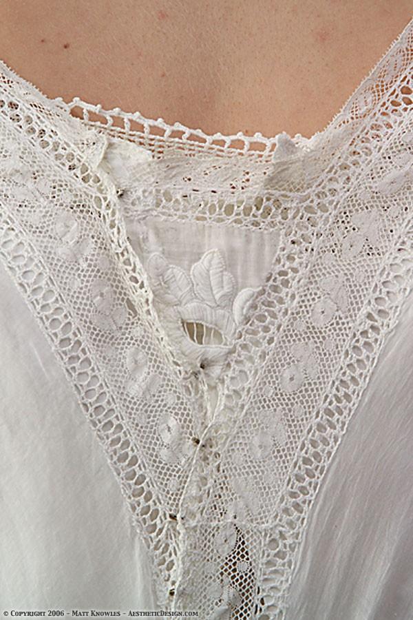 1910 White Cotton Dress