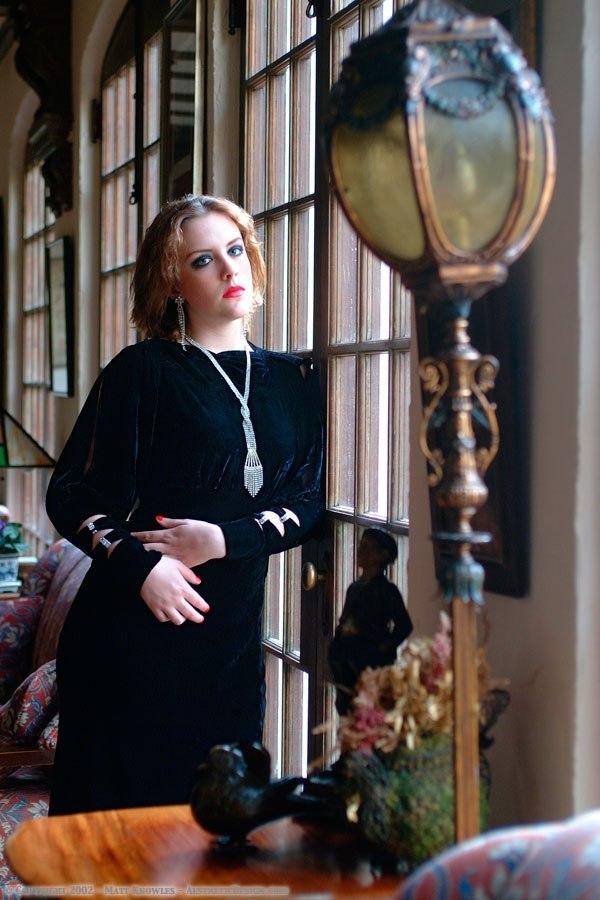 1930s Black Velvet Dress