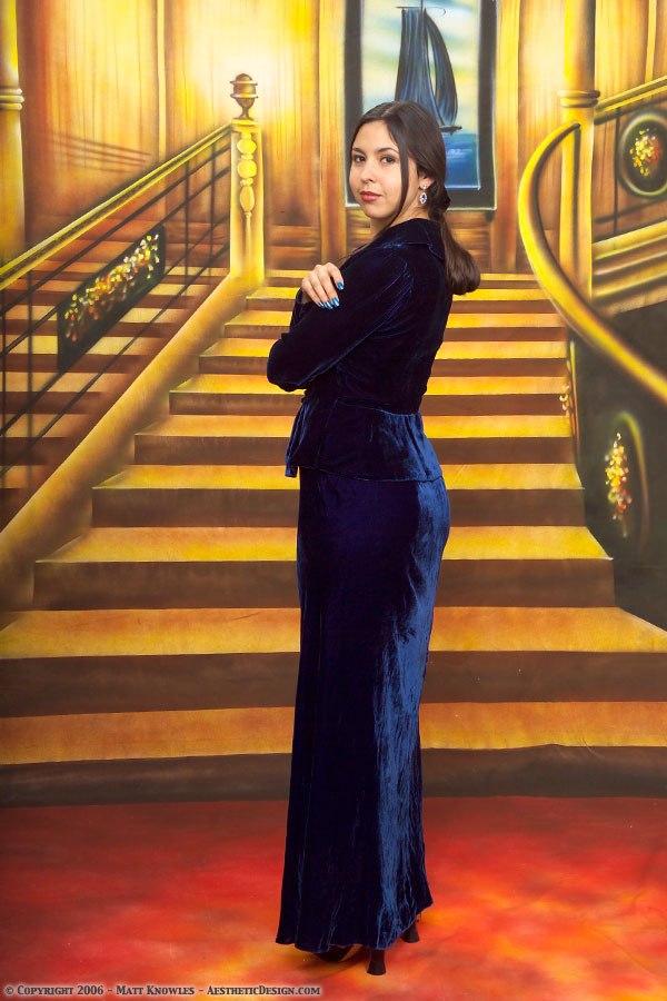 Maria modeling 1930s Blue Velvet Dress with Jacket