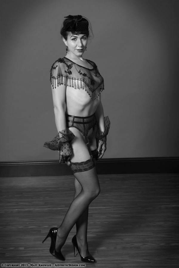 1950 Sheer Black Garter Belt