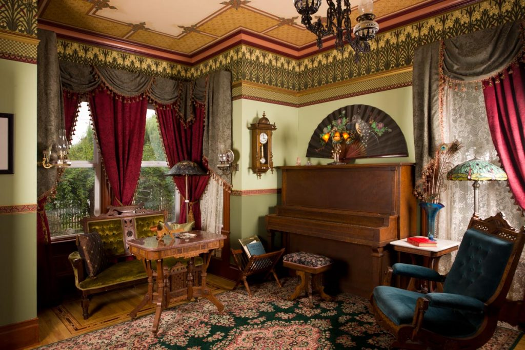 Antique Piano in Victorian parlor