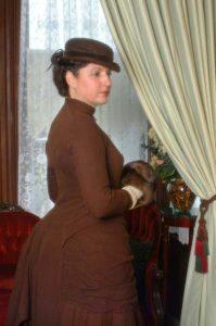 Mary wearing 1880s Bustle Dress