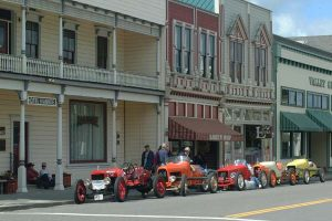 Antique race cars on Main Street