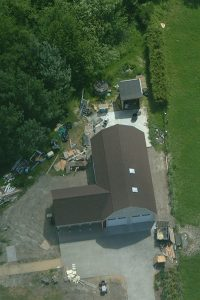 Aerial view of garage