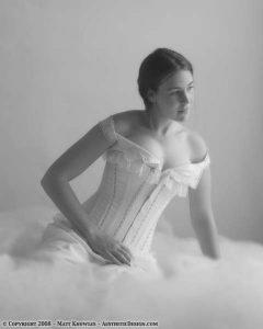 Renee wearing a corset