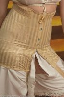 1910 Striped Cream Silk Corset
