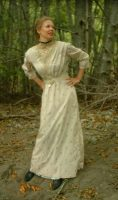 1915 Beige & Purple Edwardian Dress