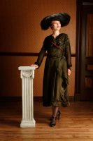 1916 Edwardian Dark Green Dress