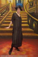 1920s Black Beaded Flapper Gown