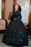 1860 Blue & Black Silk Ensemble