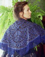 1860 Blue Silk Shawl