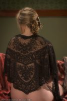 1860 Black Chantilly Lace Shawl