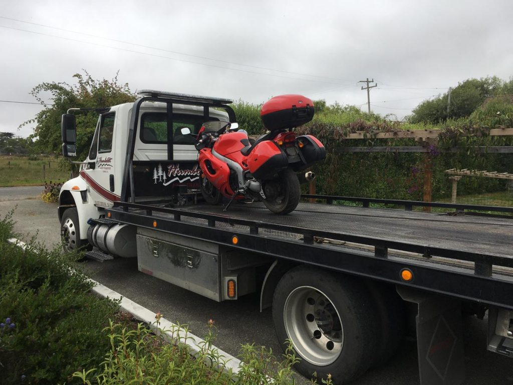 Crashed Triumph motorcycle