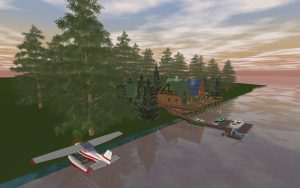 Log Cabin and Float Plane